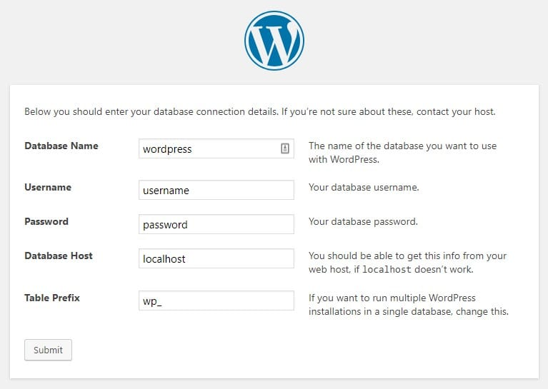 WordPress Setup uses installation Wizard to get required information