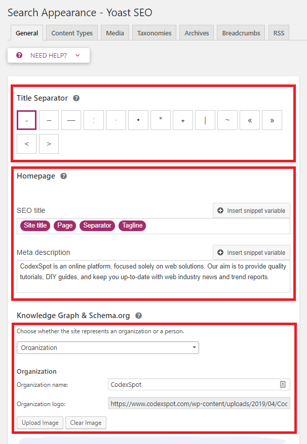 Yoast SEO >> Search Appearance >> General   Uses these Settings to Display your Site Information on SERPs