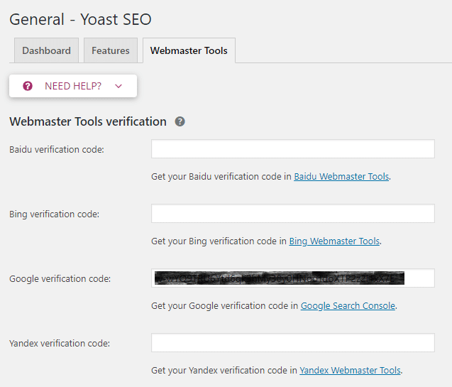 Yoast SEO >> General >> Webmaster Tools | Integrate Analytics Services on Your Site